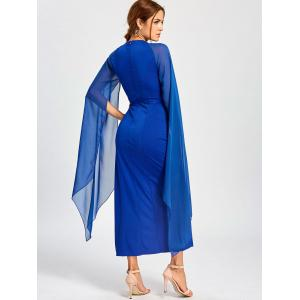 Chiffon Maxi Cape Dress - BLUE M