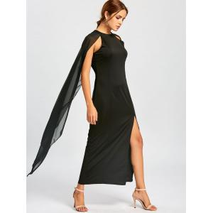 Chiffon Maxi Cape Dress - BLACK M