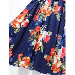 Vintage Floral Print Pin Up Skater Dress - JACINTH XL