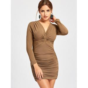 Long Sleeve Draped Bodycon Dress - KHAKI XL