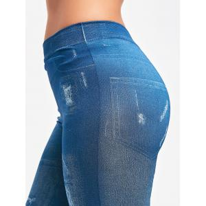 Collants Faux Faded Jeggings - Bleu TAILLE MOYENNE