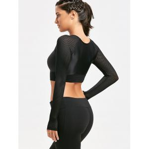 Mesh Panel Long Sleeve Crop T-shirt - BLACK M
