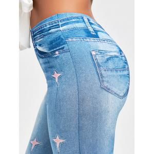 Stars Printed Slimming Jeggings - BLUE ONE SIZE