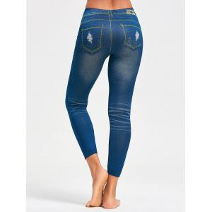 Faux Distressed Print Jeggings - BLUE ONE SIZE