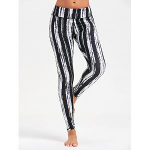 Tie Dye Striped Printed Running Leggings - Noir XS