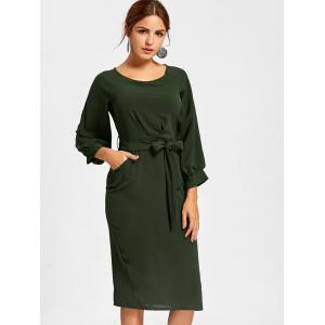 Back Slit Sheath Midi Dress - DEEP GREEN XL