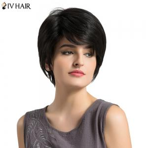 Siv Hair Short Layered Fluffy Straight Human Hair Wig - BLACK