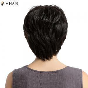 Siv Hair Short Side Bang Fluffy Layered Slightly Curled Human Hair Wig - BLACK