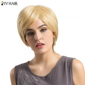 Siv Hair Short Side Bang Fluffy Layered Lustrement ondulé Perruque de cheveux humains - 613#