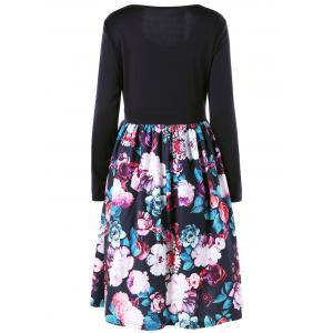 Plus Size Long Sleeve Floral Skater Dress -