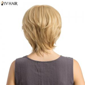 Siv Hair Short Side Bang Fluffy Layered Slightly Curled Human Hair Wig - LIGHT GOLD