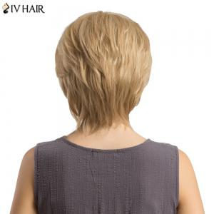 Siv Hair Short Side Bang Fluffy Layered Lustrement ondulé Perruque de cheveux humains -