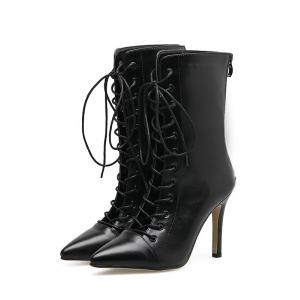 Stiletto Pointed Toe Criss Cross Boots - BLACK 35