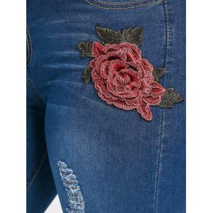 Plus Size Ripped Floral Embroidered Tight Jeans -