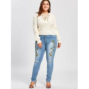 Floral Embroidered Plus Size Distressed Jeans - BLUE+PURPLE 2XL