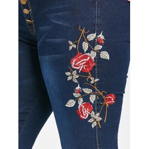 Plus Size Ripped  Embroidered Button Up Jeans - CERULEAN ONE SIZE