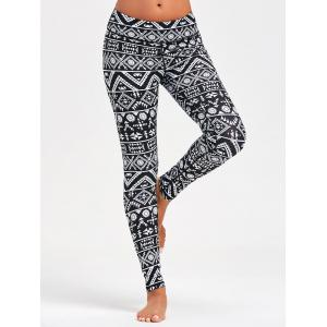 Geometric Pattern Slim Leggings for Running - BLACK L