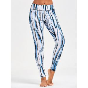 Ombre Printed Tight Leggings For Sports - WHITE L