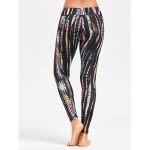 Colorful Stripe Tie Dye Exercise Leggings - BLACK S