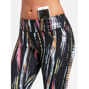 Colorful Stripe Tie Dye Exercise Leggings - BLACK M