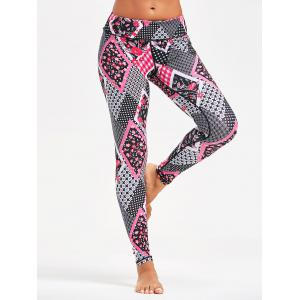 Tiny Floral Arygle Pattern Leggings for Yoga - TUTTI FRUTTI XS