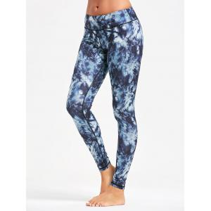 Pocket Insert Tie Dye Leggings for Yoga - PURPLISH BLUE XS