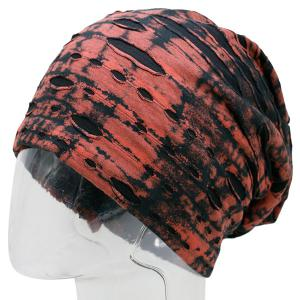 Ink Print Double-Deck Ripped Beanie - RED