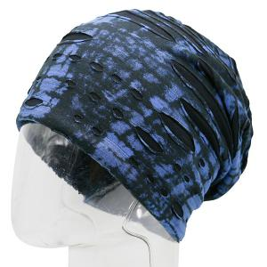 Ink Print Double-Deck Ripped Beanie -