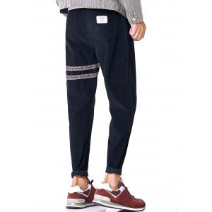 Tribal Stripe Drawstring Corduroy Pants - PURPLISH BLUE L