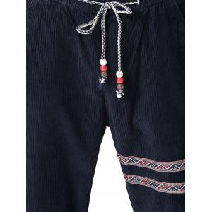 Tribal Stripe Drawstring Corduroy Pants - PURPLISH BLUE 2XL