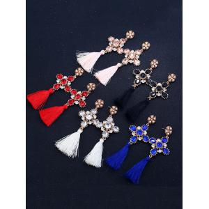 Floral Rhinestone Cross Design Tassel Drop Earrings - BLUE