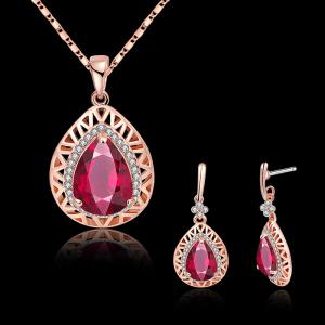 Rhinestone Faux Gemstone Teardrop Jewelry Set -