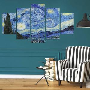 Galaxy Night Print Unframed Split Canvas Paintings -