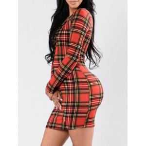 Lace Up Plaid Bodycon Dress - RED M