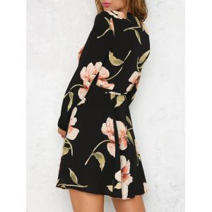 Long Sleeve Low Cut Floral Dress - COLORMIX XL