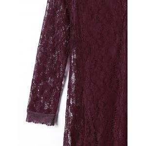 Crew Neck Lace Long Sleeve Dress - DARK RED L