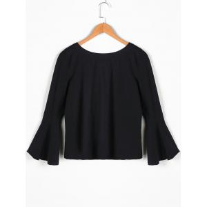 Bow Tie Bell Sleeve Blouse - BLACK S