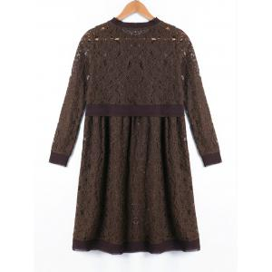 Crew Neck Long Sleeve Lace Dress -