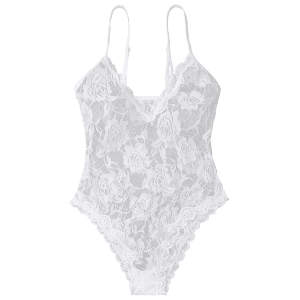 See Through Lace Cami Teddy - Blanc S