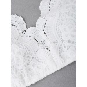 Criss Cross Lace Bralette Top - Blanc L
