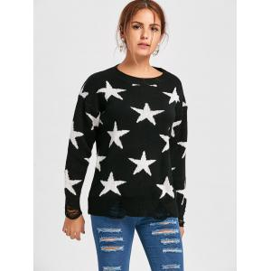 Star Jacquard Destroyed Sweater - Noir TAILLE MOYENNE