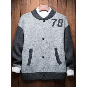 Button Up 78 Graphic Two Tone Cardigan - LIGHT GRAY 2XL