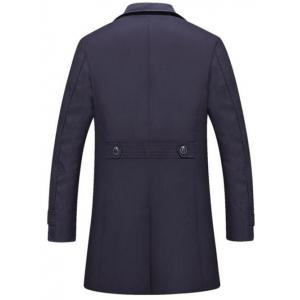 Single Breasted Lapel Trench Coat - PURPLISH BLUE XL