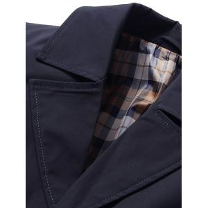 Single Breasted Lapel Trench Coat - DEEP BLUE 3XL