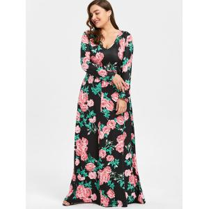 Plus Size Flower Print V Neck Maxi Dress -