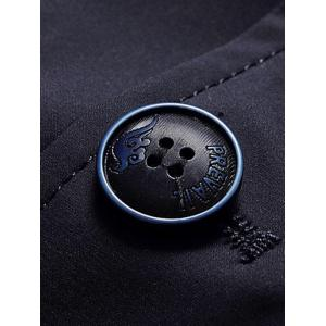 Single Breasted Lapel Trench Coat - DEEP BLUE L