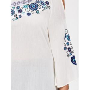 Plus Size Cold Shoulder Floral Embroidered Blouse - WHITE XL