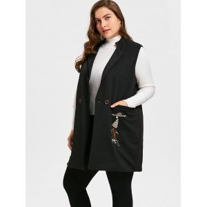 Plus Size Girl Cat Embroidered Waistcoat - BLACK XL