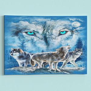 Wall Art Wolf Print Canvas Painting - ICE BLUE 1PC:24*39 INCH( NO FRAME )