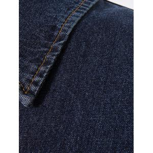Button Up Turndown Collar Longline Denim Coat - DEEP BLUE XL
